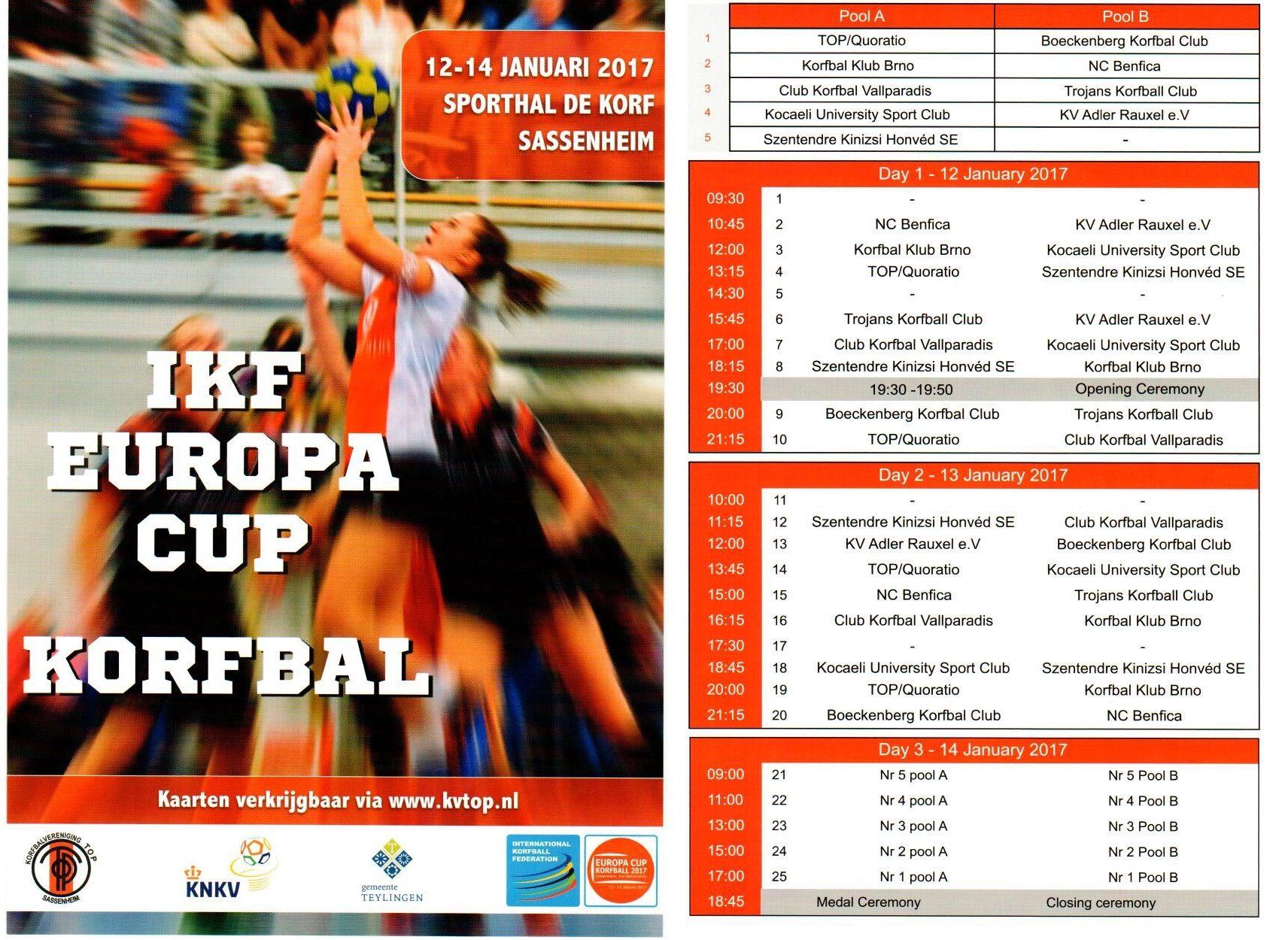 Programmaboekje IKF Europa Cup Korfbal 2017